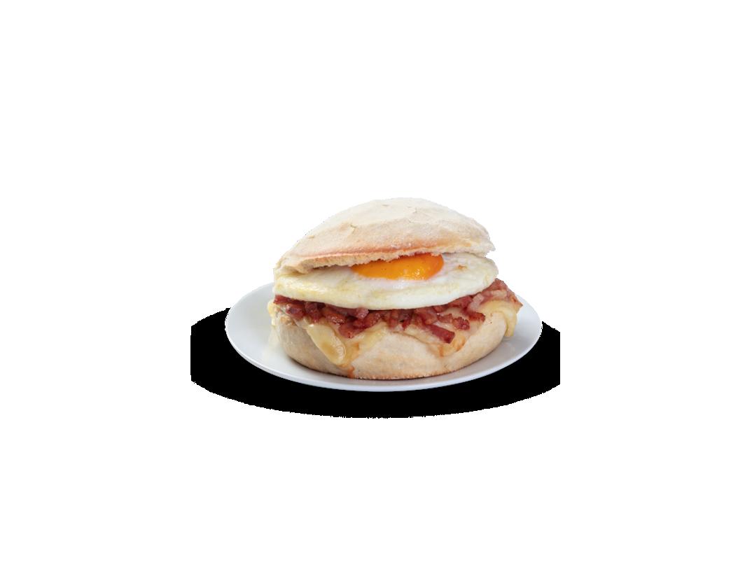 Mollete Queso, huevo y bacon